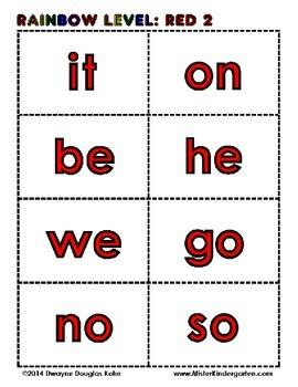 100 SIGHT WORD FLASH CARDS - RAINBOW LEVELS