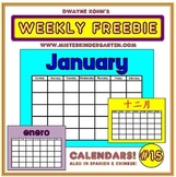 WEEKLY FREEBIE #15: Calendars/Calendarios/日历