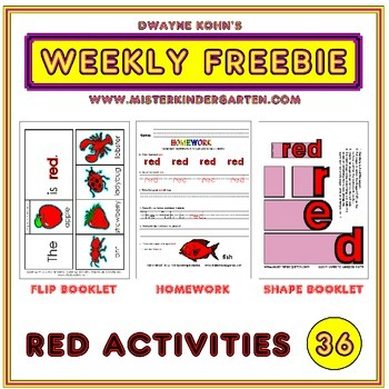 WEEKLY FREEBIE #36: Activities for the color RED
