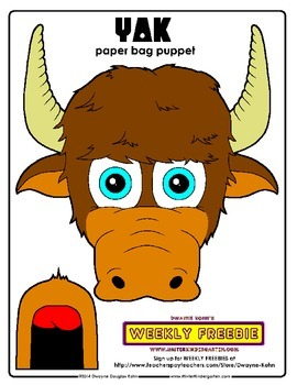 WEEKLY FREEBIE #44: Yak Paper Bag Puppet