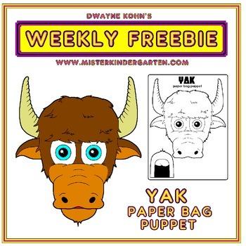 WEEKLY FREEBIE #44: Yak Paper Bag Puppet