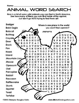 WEEKLY FREEBIE #65: Wild Animal Word Search