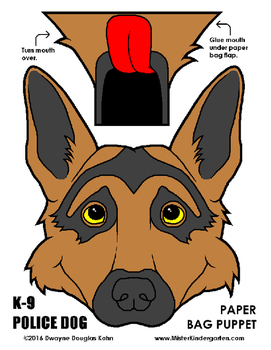 WEEKLY FREEBIE #99 - Police Dog Paper Bag Puppet