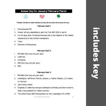 WEEKLY Internet Scavenger Hunt for MLA (January, February, March)