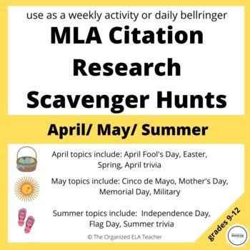 WEEKLY Internet Scavenger Hunts for MLA (April, May, June)