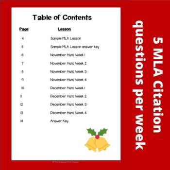 MLA Research Weekly Scavenger Hunts Holiday Edition (November & December)