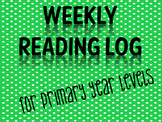 WEEKLY READING LOG FOR PRIMARY YEAR LEVEL