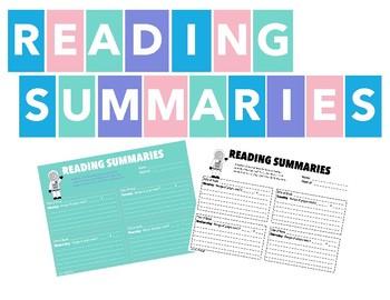WEEKLY READING SUMMARIES / READING LOGS