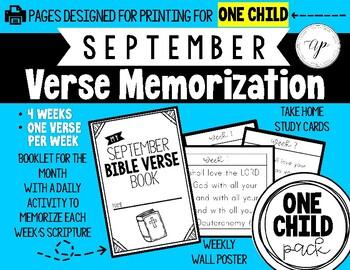 WEEKLY Verse Memorization (SEPTEMBER PACK) INDIVIDUAL CHILD PACK