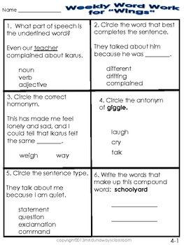 WEEKLY WORD WORK UNIT 4 (differentiated)