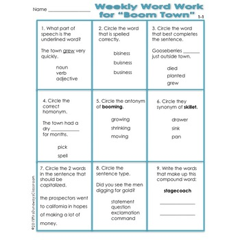 WEEKLY WORD WORK UNITS 1-6 BUNDLED