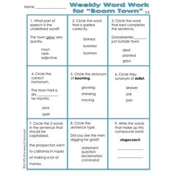 WEEKLY WORD WORK UNITS 1-6 BUNDLED