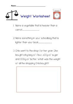 WEIGHT word problems printable