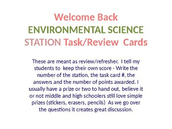 WELCOME BACK TASK CARDS