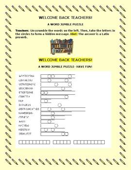 WELCOME BACK TEACHERS! A FUN STAFF DEVELOPMENT ACTIVITY