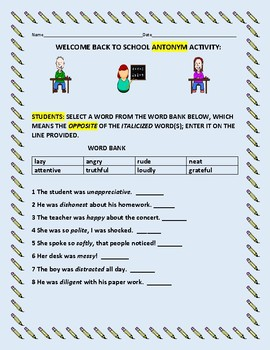 WELCOME BACK TO SCHOOL ANTONYM ACTIVITY
