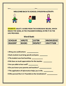WELCOME BACK TO SCHOOL SYNONYM ACTIVITY
