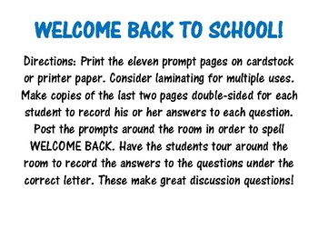 WELCOME BACK writing prompts