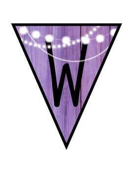 WELCOME BANNER (RUSTIC PURPLE WOOD)