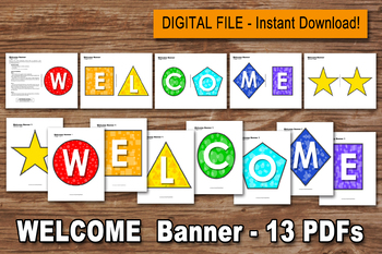 WELCOME BANNER -  -Digital File- Geometric Shapes, School banner, Welcome