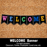 WELCOME BANNER – Digital file, Chalk, Loose style, School