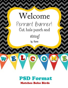 ~WELCOME BANNER~ Matches the Boho Birds Chevron
