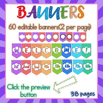 EDITABLE PENNANT BANNERS - BONUS: WELCOME AND GRADES