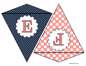 WELCOME BANNER, WORD WALL HEADERS: Coral & Navy, Classroom Decor