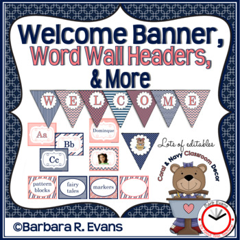 WELCOME BANNER WORD WALL Coral Navy Theme Classroom Decor