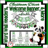 WELCOME BANNER WORD WALL Green Panda Theme Classroom Decor