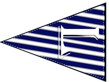 WELCOME Banner (Blue and White Stripes)