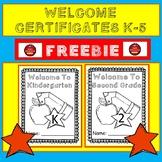 WELCOME CERTIFICATES - FREEBIE