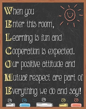 WELCOME CHALKBOARD POSTER