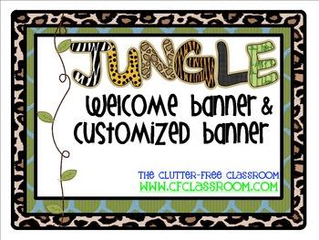 WELCOME / CUSTOMIZED BANNER for a JUNGLE ~ SAFARI CLASSROOM THEME