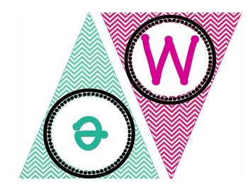 WELCOME Chevron Banner- Bright Pastels