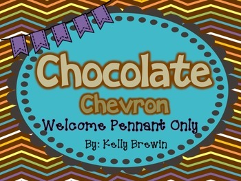WELCOME Pennant Banner in Chocolate Chevron