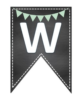 WELCOME banner back to school pennant mint light green