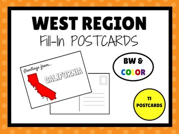 WEST REGION STATES Fill In POSTCARDS (BW & COLOR)