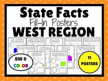 WEST STATES Fill-In Poster Set (11 states)