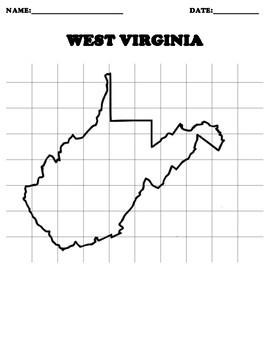 WEST VIRGINIA Coordinate Grid Map Blank