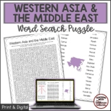 WESTERN ASIA AND THE MIDDLE EAST Word Search Puzzle