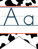 WESTERN - Alphabet Banner, handwriting, A to Z, ABC print font / cow