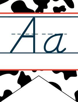 WESTERN - Alphabet Banner, handwriting, A to Z, D'Nealian