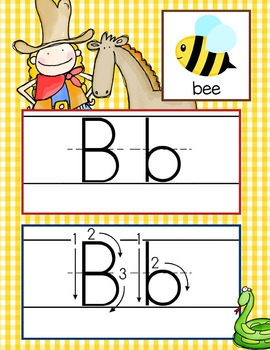 WESTERN - Alphabet Cards, Handwriting, ABC Flash Cards, ABC print with pictures