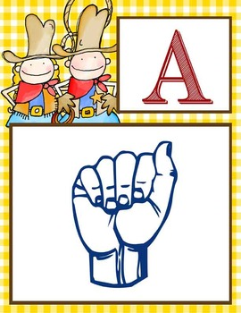 WESTERN - Alphabet Flag Banner, SIGN LANGUAGE, A to Z