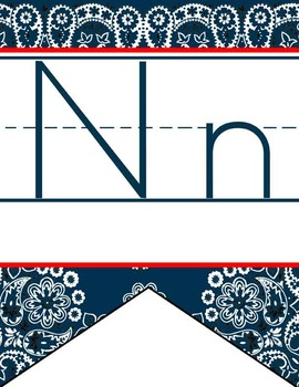 WESTERN - Alphabet Flag Banner, handwriting, A to Z, ABC print font