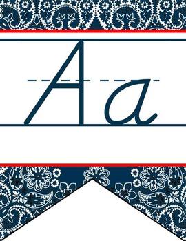 WESTERN - Alphabet Flag Banner, handwriting, A to Z, D'Nealian manuscript