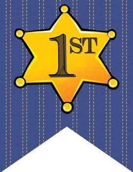 WESTERN - Alphabet Flags, CREATE a BANNER, sheriff