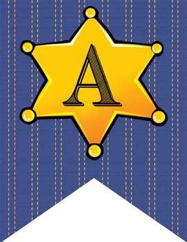 WESTERN - Alphabet Flags, CREATE a BANNER, sheriff