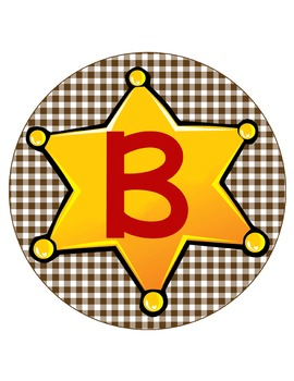 WESTERN - CIRCLE Bulletin Board Letters / Word Wall / brown gingham
